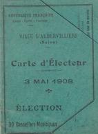 7carte D Electeur 3 Mai 1908 Aubervillers (LOT AE 23) - Vieux Papiers