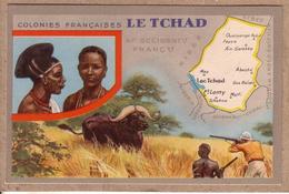 LE TCHAD , AFRIQUE OCCIDENTALE FRANCAISE , A.O.F. COLONIES FRANCAISES - CHASSE , BUFFLE , FEMME - éditeur LION NOIR - Ciad