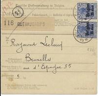 Nr 18 (vert. Paar) En 14 Op Pakketkaart Van 20.2.18 Van Quevaucamps Naar Brussel 2 - Weltkrieg 1914-18