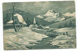Buon Natale Circolata Nel 1947; Paese Di Montagna Con Neve E Persone. Illustratore A. Bertiglia. - Altri