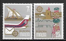 MALTE    -   1979 .   Y&T N° 583 / 584 **.   EUROPA  .   Bateau  /  Avion  /  Poste.   Série Complète - Malte