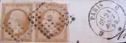 """R1606/16 - NAPOLEON III (PAIRE) N°13A Sur Fragment - CàD De PARIS BUREAU """"G """" Du 21 AOÛT 1859 - Cote : 45,00 € - 1853-1860 Napoléon III"""