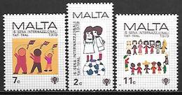 MALTE    -   1979 .   Y&T N° 585 à 587 **.   Année De L'enfant /  Dessins.     Série Complète - Malta