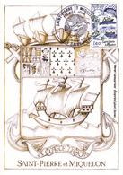 976 SAINT PIERRE ET MIQUELON   /   - BLASON  -  OBLITERATION 1er JOUR - Saint-Pierre-et-Miquelon