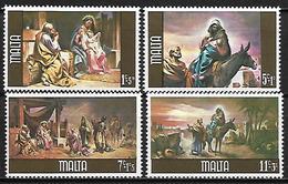 MALTE    -   1979 .   Y&T N° 592 à 595 **.   Noël.  Nativité / Ane  /   Fuite En Egypte De G. Cali.   Série Complète - Malta