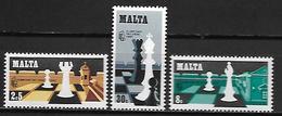 MALTE    -   1980 .   Y&T N° 609 à 611 **.   Jeux D' échecs.   Série Complète - Malta