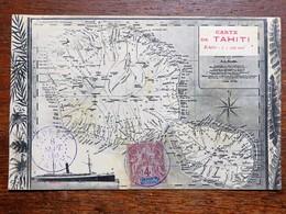 C.P.A. : Carte De TAHITI, Echelle 1 : 500 000e, Timbre En 1908 - Tahiti