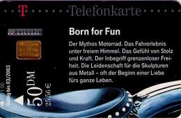 TARJETA TELEFONICA DE ALEMANIA. Vehicles 1, Born For Fun (Motorcycle) MOTOS. PD 01/00-1.2 (186) - Motos
