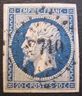 R1606/23 - NAPOLEON III N°14Aa Bleu Foncé - LUXE - PC 3710 : ALGER (ALGERIE) INDICE 3 - BUREAU SUPPLEMENTAIRE - 1853-1860 Napoléon III