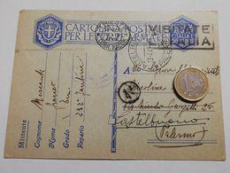 2868) FRANCHIGIA POSTA MILITARE Trieste 1941 X Palermo Rispedita Castelbuono - Storia Postale