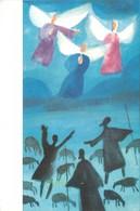 CPA Carte De Voeux  Meilleurs Voeux Carte Double Et Qui S'ouvre Dessin De Dressler Anges Bergers Troupeau Rois Mages - Illustrateurs & Photographes