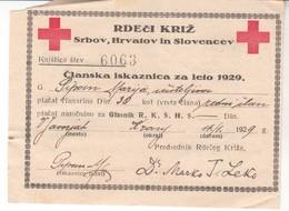 3394  SLOVENIJA   SHS  IZKAZNICA  RDEČI  KRIŽ - Historical Documents