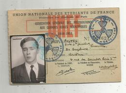 Carte De Membre ,UNEF ,1958-1959 ,union Nationale Des étudiants De France ,école Sainte Geneviève , Versailles,2 Scans - Vieux Papiers
