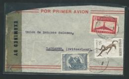 Argentine - Lsc Pour Lausanne  , Yvert   Aérien N° 26 A + 26, + 448  Oblitérés En 1944, Censure   - Lx1304 - Argentina
