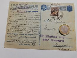 2882) FRANCHIGIA POSTA MILITARE 52 5-9-1943 Aerea PM POTENZA - Storia Postale