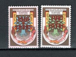 GUINEE N° 52+53 NEUFS SANS CHARNIERE ANNEE DU REFUGIE VARIETE 20/25 AU LIEU DE 10/25 ET 10/50 AU LIEU DE 20/50 EN ROUGE - Guinée (1958-...)