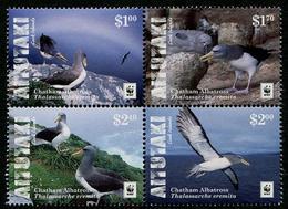 AITUTAKI 2016 - Faune En Danger, Albatros, Wwf - 4 Val Marges En Couleur Neufs // Mnh - Aitutaki