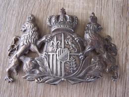 Plaque De Shako Royaume De Bavière En Métal Très Bon état. - Casques & Coiffures