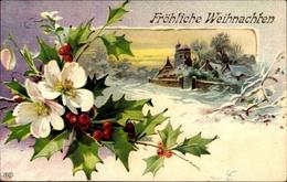 Cp Glückwunsch Weihnachten, Stechpalmenzweige, Christrose, Verschneiter Ort, EAS - Weihnachten