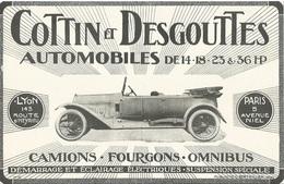 Publicité COTTIN DESGOUTTES AUTOMOBILES DE 14-18 . 23&36 HP  Cachet Certifié D'époque 1917 - Affiches