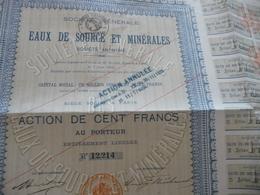 Action Cent Francs Eaux De Source Et Minérales 1906 - Eau