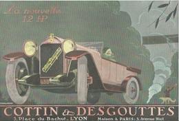 Publicité COTTIN DESGOUTTES AUTOMOBILES Traction La Nouvelle 12 HP  Cachet Certifié D'époque 1922 - Affiches