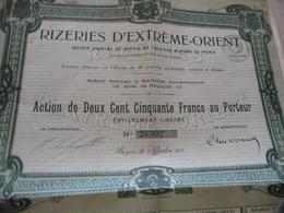 Action 250 Francs Au Porteur Rizeries D'Extrême Orient Riz Saïgon 1918 - Asie