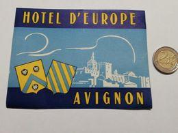 2923) Etichetta Hotel Albergo D'EUROPE AVIGNONE FRANCIA - Etiquettes D'hotels