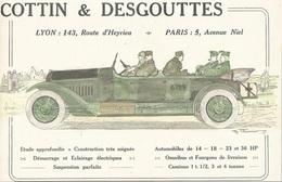 Publicité COTTIN DESGOUTTES AUTOMOBILES DE 14-18 . 23&36 HP LYON PARIS  Cachet Certifié D'époque 1916 - Affiches