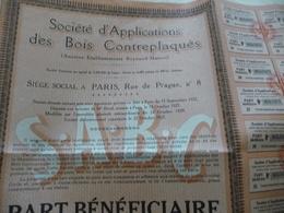 Action Part Bénéficiaire Au Porteur Société Des Applications Des Bois Contreplaqués Paris 1929 S.A.B.C. - Industrie