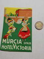 2926) Etichetta Hotel Albergo HOTEL VICTORIA MURCIA SPAGNA - Etiquettes D'hotels