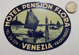 2927) Etichetta Hotel Albergo HOTEL PENSION FLORA VENEZIA ITALIA - Adesivi Di Alberghi