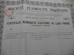Action Certificat Nominatif Vierge Plymouth Française  Feyzin Isère Fils électriques - Industrie