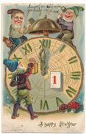 A Happy New Year - Lutins, Nains, Horloge -  Carte Gauffrée - Nouvel An