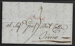 1802 - LAC - VIGEVANO A TORINO - Marque Accessoire De Chiffre Taxe En Rouge  DÉCIMES - Marcophilie (Lettres)
