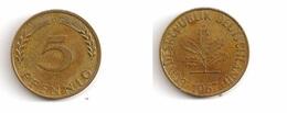 5 Pfennig – Allemagne – 1967 G – Atelier De Karlsruhe G – Cuivre – Etat TTB – KM 107 - [ 7] 1949-… : FRG - Fed. Rep. Germany
