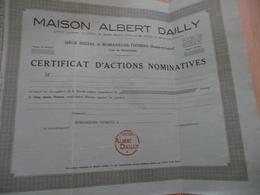 Action Certificat Nominatif Vierge Maison Albert Dailly Romanèche Thorins Saöne Et Loire Vins - Agriculture