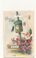 BONNE ANNEE - Système Calendrier Perpétuel - Lutin, Flûte, Violettes -  Carte Gauffrée - Nouvel An