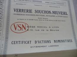 Action Certificat Nominatif Vierge Verreries Souchon Neuvesel Richarme Evian - Industrie
