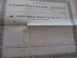 Action Certificat Nominatif Vierge 20 Francs Carburateurs Zénith - Automobile