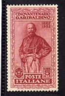 ITALIA REGNO ITALY KINGDOM 1932 GIUSEPPE GARIBALDI LIRE 5 + 1 MNH BEN CENTRATO - 1900-44 Victor Emmanuel III