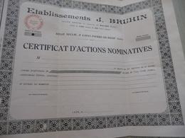 Action Certificat Nominatif Vierge établissements J.Bruhin Saint Pierre De Boeuf - Industrie