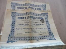 Action X2 Compania De Las Carboneras De Asturias  125 Pesetas Oro 1907 - Mines