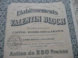 Action 250 Francs Valentin Bloch 1923 Mulhouse Filature Tissage - Industrie