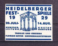 Vignette, Werbemarke, Heidelberger Festspiele 1929 (61542) - Erinnophilie