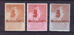 3 Vignetten, Werbemarken, Ausstellung Handwerk Gewerbe Kunst Gartenbau Wiesbaden 1909 (61543) - Erinnophilie