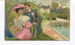 CPA - Fantaisie - SUPERBE PORTRAIT COUPLE EN MEDAILLON -  HEUREUSE ANNEE. J.C PARIS 1204 - Cachet De MARIGNAC (17) - Nouvel An