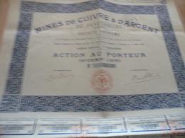 Action  Au Porteur Mines De Cuivres Et D'argent De Faveyrolles Aveyron 1910 - Mines