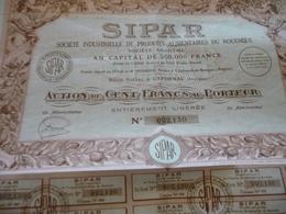 Action  100 Francs Au Porteur SIPAR Société Industrielle De Produits Alimentaires Du Rouergue Capdenac Aveyron - Agriculture