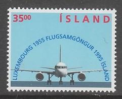 TIMBRE NEUF D'ISLANDE - 40E ANNIVERSAIRE DE LA LIAISON AERIENNE ISLANDE-LUXEMBOURG N° Y&T 783 - Avions